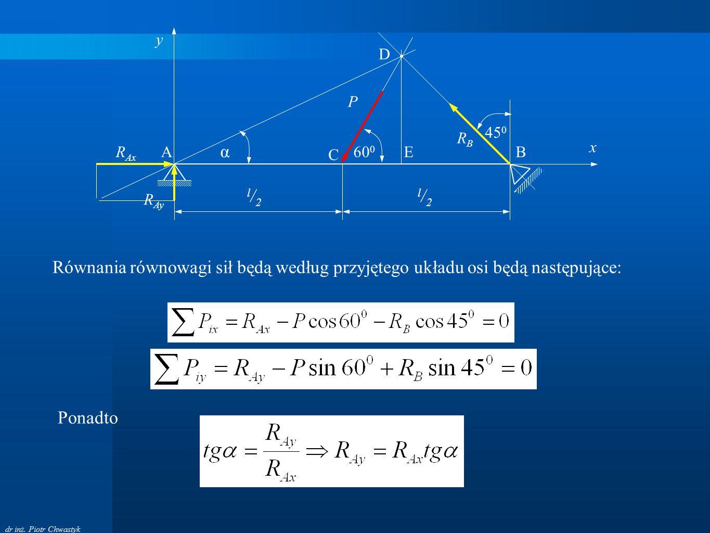 dr inż. Piotr Chwastyk A B P C l/2l/2 l/2l/2 60 0 45 0 RBRB R Ax R Ay D E Równania równowagi sił będą według przyjętego układu osi będą następujące: y