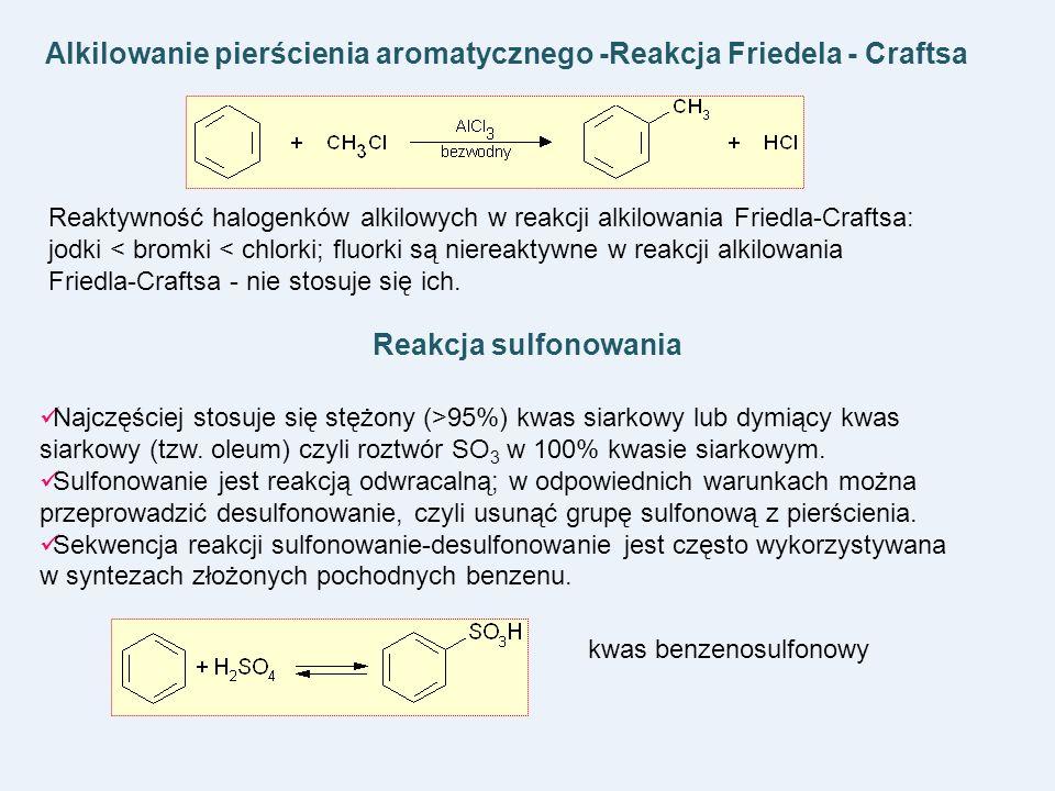 Alkilowanie pierścienia aromatycznego -Reakcja Friedela - Craftsa Reaktywność halogenków alkilowych w reakcji alkilowania Friedla-Craftsa: jodki < bro