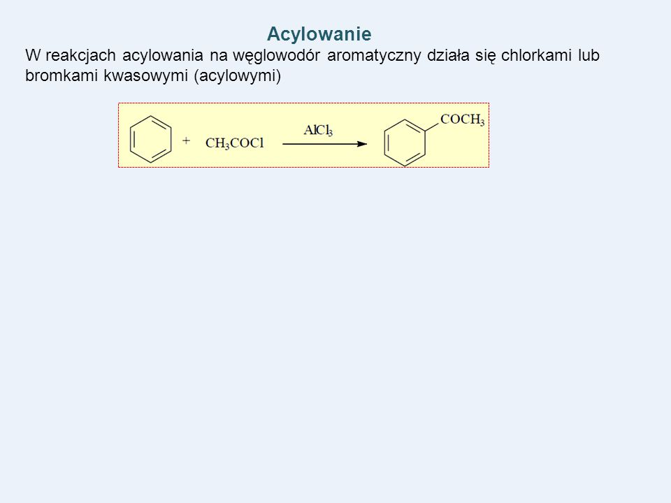Acylowanie W reakcjach acylowania na węglowodór aromatyczny działa się chlorkami lub bromkami kwasowymi (acylowymi)