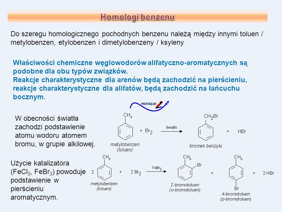 Właściwości chemiczne węglowodorów alifatyczno-aromatycznych są podobne dla obu typów związków. Reakcje charakterystyczne dla arenów będą zachodzić na