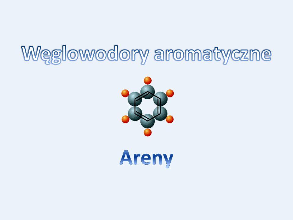 Spis treści  Podstawowe pojęcia Podstawowe pojęcia  Struktura benzenu Struktura benzenu  Właściwości chemiczne benzenu Właściwości chemiczne benzenu  Wielopierścieniowe węglowodory aromatyczne Wielopierścieniowe węglowodory aromatyczne  Homologi benzenu Homologi benzenu  Nazewnictwo związków aromatycznych Nazewnictwo związków aromatycznych  Występowanie i otrzymywanie arenów Występowanie i otrzymywanie arenów