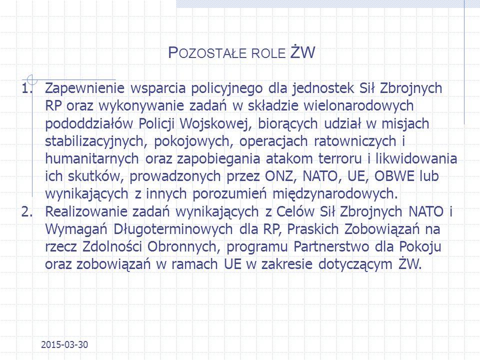 P OZOSTAŁE ROLE ŻW 2015-03-30 1.Zatrzymanie sprawców przestępstw posiadających broń, materiały wybuchowe, niebezpieczne narzędzia. 2.Poszukiwanie szcz