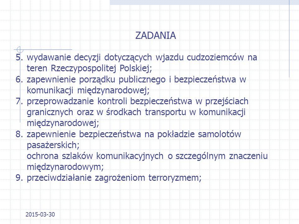 2015-03-30 Aktem prawnym regulującym zakres działania Straży Granicznej jest Ustawa z dnia 12 października 1990 r. o SG ZADANIA 1.ochrona granicy pańs