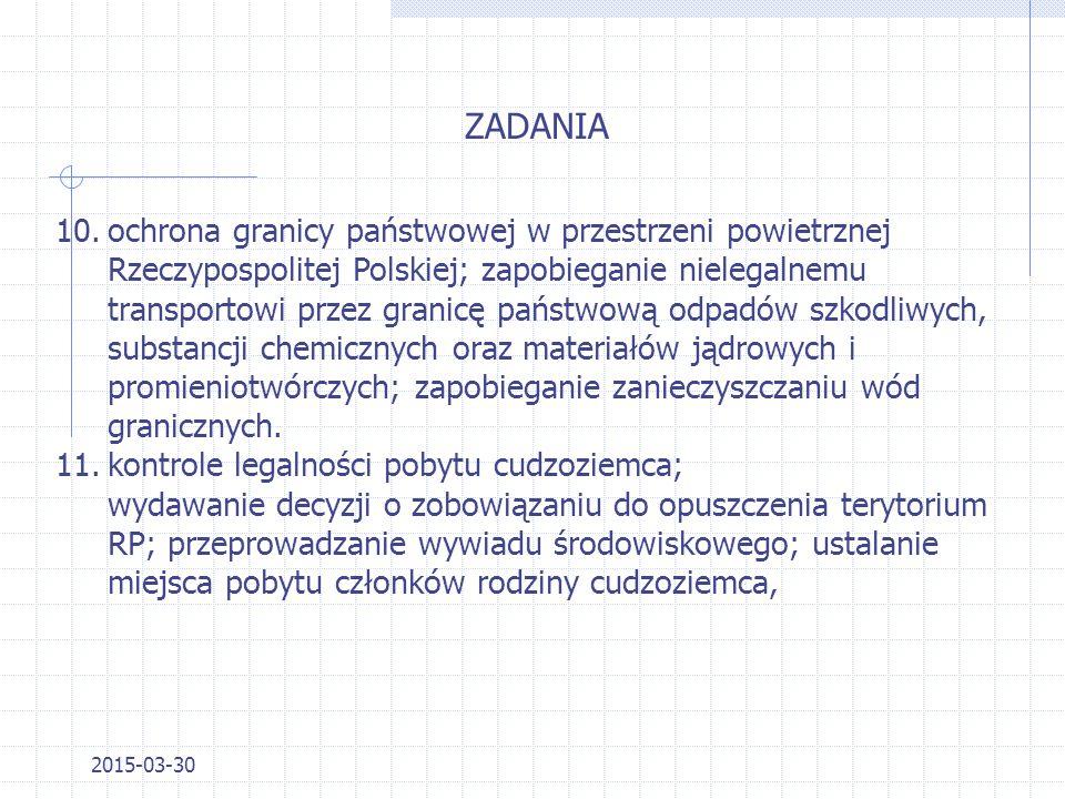 2015-03-30 ZADANIA 5.wydawanie decyzji dotyczących wjazdu cudzoziemców na teren Rzeczypospolitej Polskiej; 6.zapewnienie porządku publicznego i bezpie