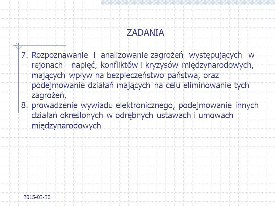 2015-03-30 ZADANIA 4.zapewnienie ochrony kryptograficznej łączności z polskimi placówkami dyplomatycznymi i konsularnymi oraz poczty kurierskiej, 5.ro