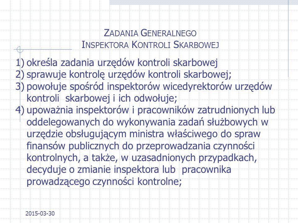 2015-03-30 O RGANY K ONTROLI S KARBOWEJ - STRUKTURA 1.Minister właściwy ds. finansów publicznych jako naczelny organ kontroli skarbowej; 2.Generalny I