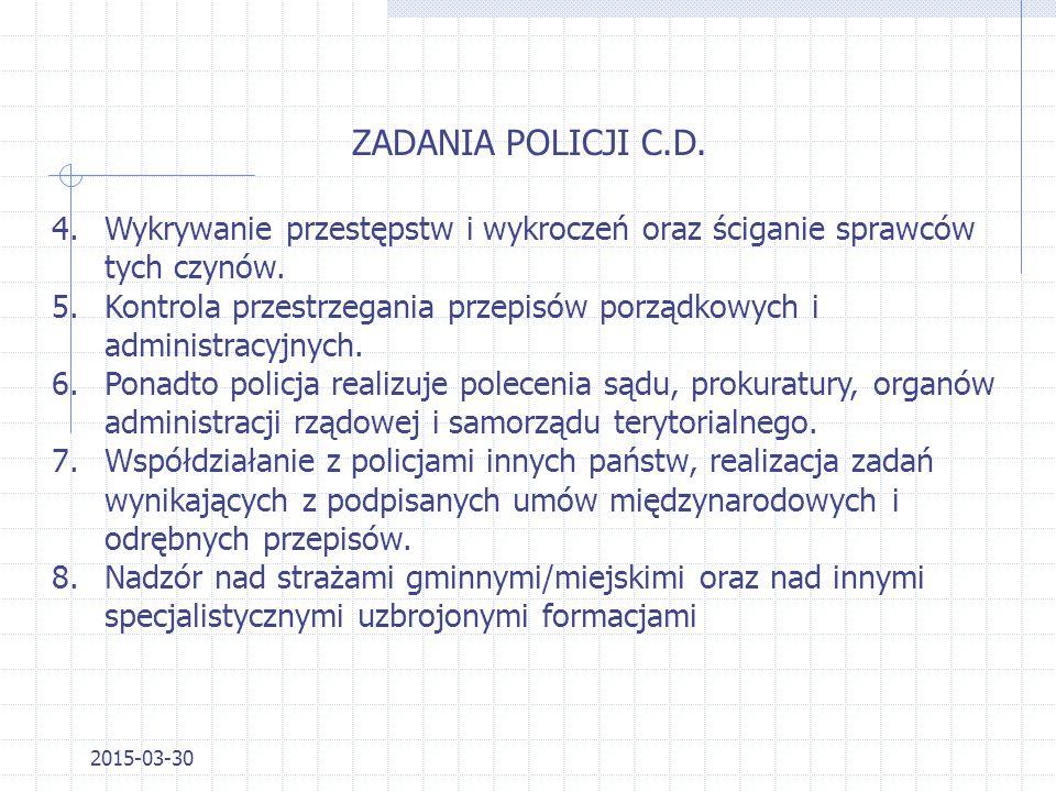 2015-03-30 ZADANIA POLICJI Szczegółowo określa Ustawa o Policji z dnia 06.04.1990 r. z późniejszymi zmianami DzU. nr 30 poz. 179. 1.Ochrona życia i zd
