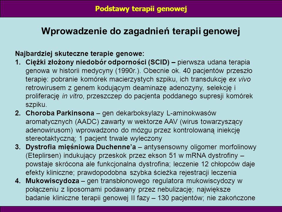 STRATEGIE TERAPII GENOWEJ: I Komplementacja defektu genetycznego polega na łagodzeniu skutków biologicznych defektu genetycznego przez wprowadzenie prawidłowego genu (nie usuwa defektu) Przykład: mutacja punktowa w ORF genu β-globiny prowadzi do anemi sierpowatej (zamiana 1 aminokwasu – tetramery α i β-globiny tworzą strąty); wprowadzenie prawidłowego genu β-globiny do komórek macierzystych erytrocytów → wytwarzanie normalnych erytrocytów Podstawy terapii genowej
