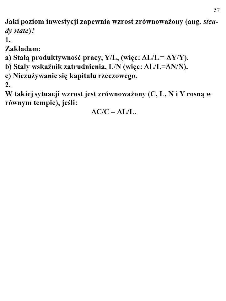 56 Otóż inwestycje wymagane, (  C/L) E, są równe n  k (zob.
