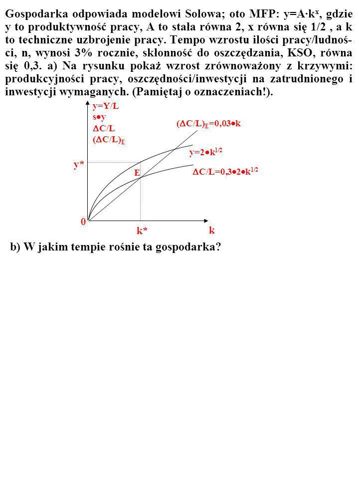 ZADANIE Gospodarka odpowiada modelowi Solowa; oto MFP: y=A·k x, gdzie y to produktywność pracy, A to stała równa 2, x równa się 1/2, a k to techniczne uzbrojenie pracy.
