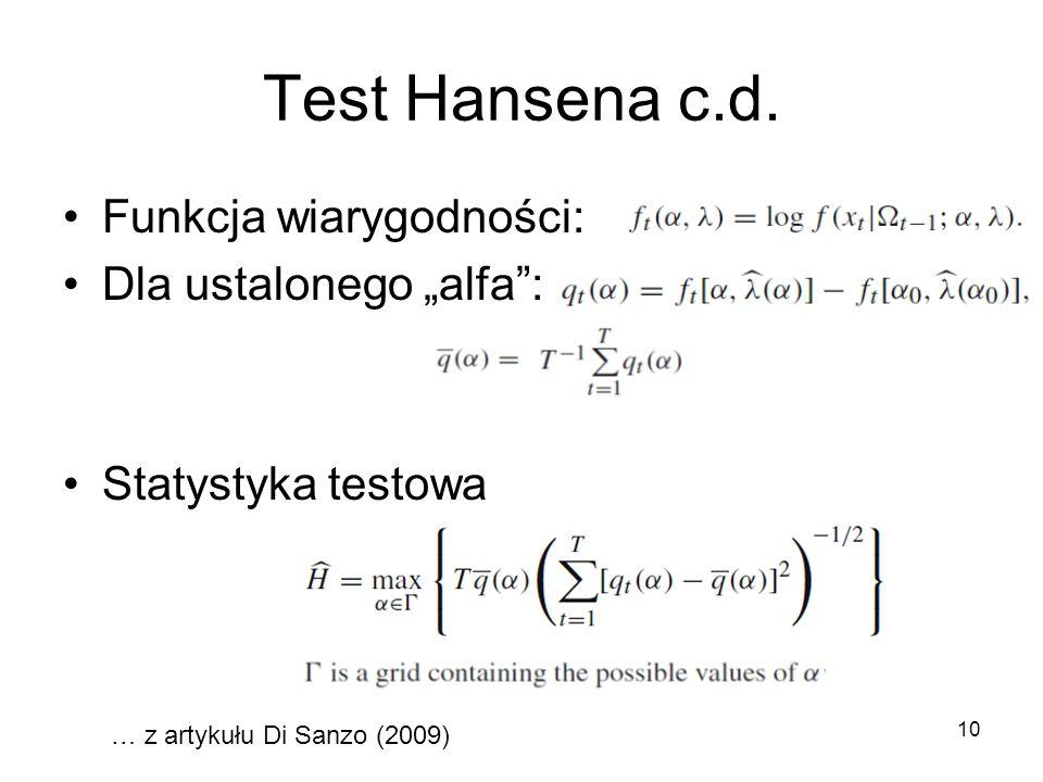 10 Test Hansena c.d.