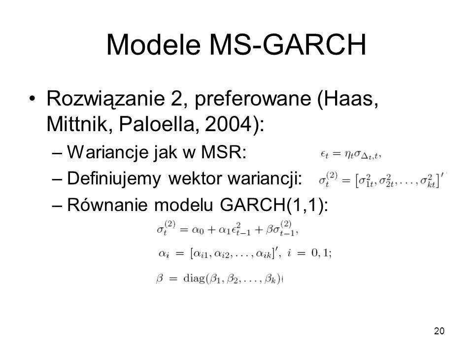 20 Modele MS-GARCH Rozwiązanie 2, preferowane (Haas, Mittnik, Paloella, 2004): –Wariancje jak w MSR: –Definiujemy wektor wariancji: –Równanie modelu GARCH(1,1):