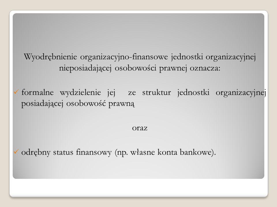 Wyodrębnienie organizacyjno-finansowe jednostki organizacyjnej nieposiadającej osobowości prawnej oznacza: formalne wydzielenie jej ze struktur jednos