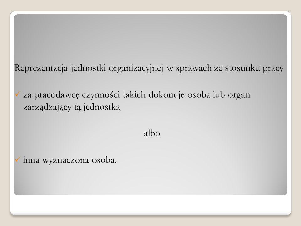 Reprezentacja jednostki organizacyjnej w sprawach ze stosunku pracy za pracodawcę czynności takich dokonuje osoba lub organ zarządzający tą jednostką