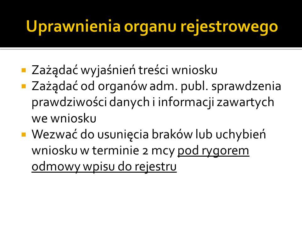  Decyzja o wpisie do rejestru o na podstawie wymogów formalnych  Decyzja o odmowie wpisu do rejestru  Ponowny wniosek o rozpatrzenie sprawy w terminie 14 dni od doręczenia decyzji  Skarga do WSA w Warszawie