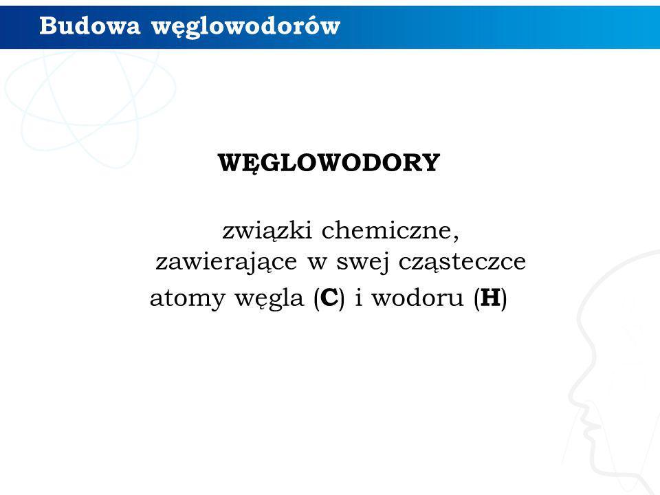 Budowa węglowodorów WĘGLOWODORY związki chemiczne, zawierające w swej cząsteczce atomy węgla ( C ) i wodoru ( H )