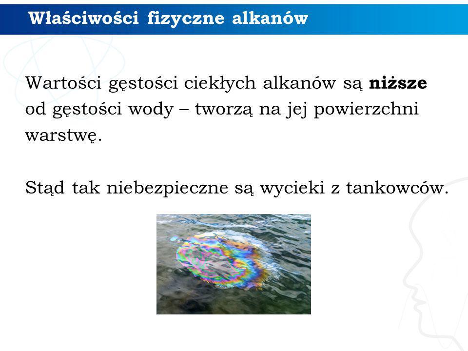 Właściwości fizyczne alkanów Wartości gęstości ciekłych alkanów są niższe od gęstości wody – tworzą na jej powierzchni warstwę. Stąd tak niebezpieczne