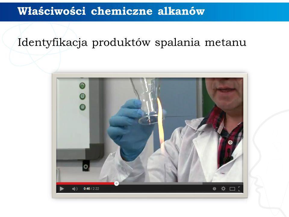 Identyfikacja produktów spalania metanu Właściwości chemiczne alkanów