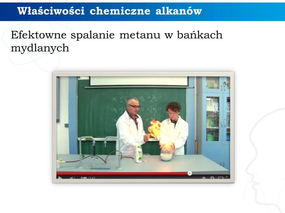 Efektowne spalanie metanu w bańkach mydlanych Właściwości chemiczne alkanów