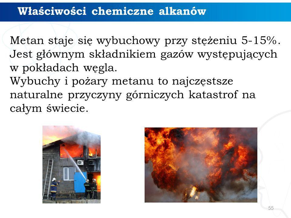 55 Właściwości chemiczne alkanów Metan staje się wybuchowy przy stężeniu 5-15%. Jest głównym składnikiem gazów występujących w pokładach węgla. Wybuch