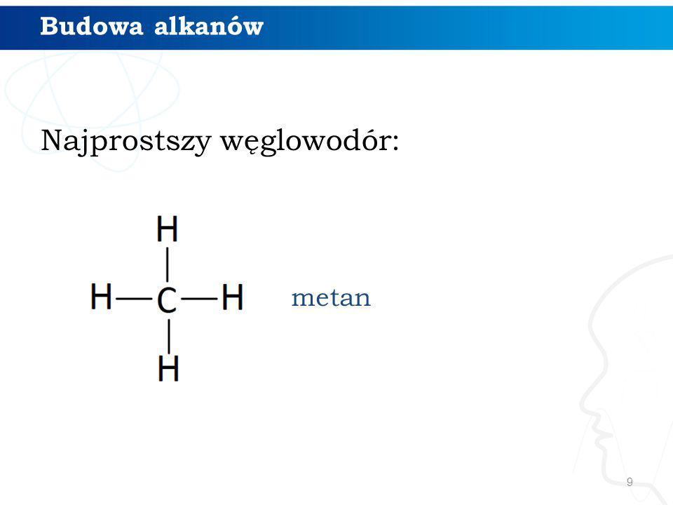 Najprostszy węglowodór: 9 metan Budowa alkanów