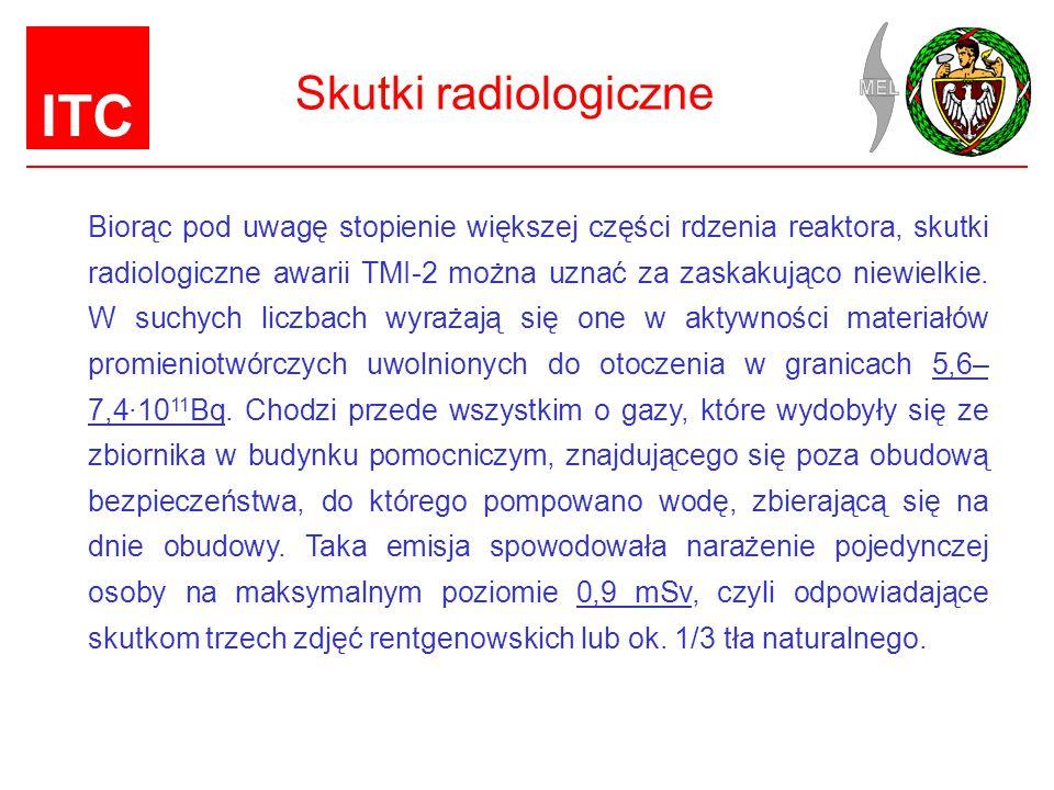 ITC Skutki radiologiczne Biorąc pod uwagę stopienie większej części rdzenia reaktora, skutki radiologiczne awarii TMI-2 można uznać za zaskakująco niewielkie.