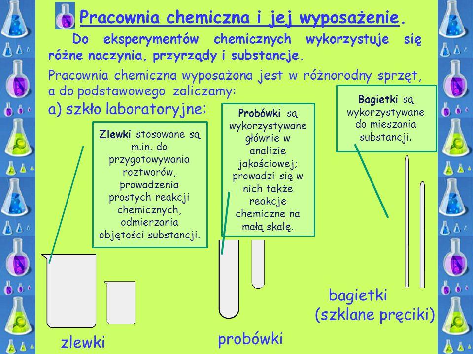 Pracownia chemiczna i jej wyposażenie. zlewki probówki Do eksperymentów chemicznych wykorzystuje się różne naczynia, przyrządy i substancje. Pracownia