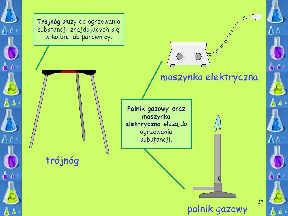 maszynka elektryczna trójnóg palnik gazowy 27 Trójnóg służy do ogrzewania substancji znajdujących się w kolbie lub parownicy. Palnik gazowy oraz maszy
