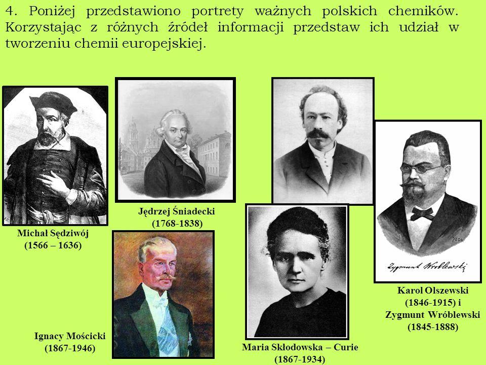 4. Poniżej przedstawiono portrety ważnych polskich chemików. Korzystając z różnych źródeł informacji przedstaw ich udział w tworzeniu chemii europejsk