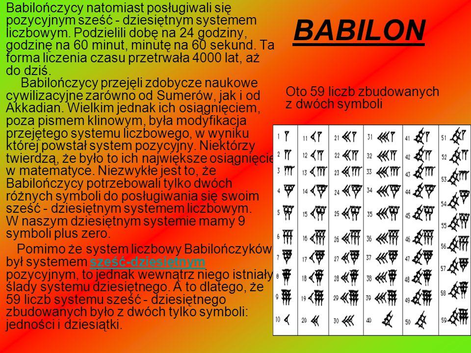 BABILON Babilończycy natomiast posługiwali się pozycyjnym sześć - dziesiętnym systemem liczbowym. Podzielili dobę na 24 godziny, godzinę na 60 minut,