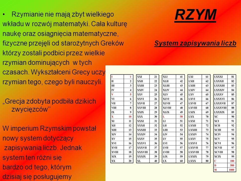 RZYM System zapisywania liczb Rzymianie nie mają zbyt wielkiego wkładu w rozwój matematyki. Cała kulturę naukę oraz osiągnięcia matematyczne, fizyczne