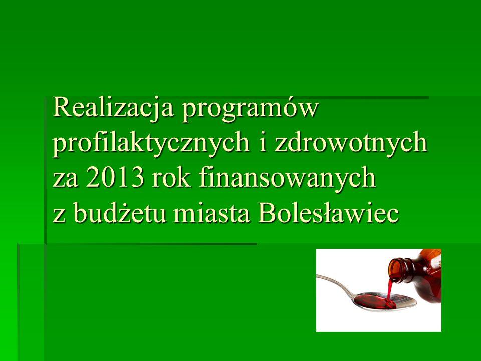 Realizacja programów profilaktycznych i zdrowotnych za 2013 rok finansowanych z budżetu miasta Bolesławiec