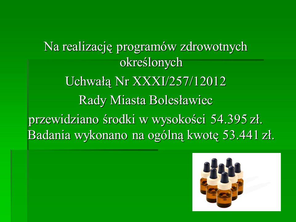 Na realizację programów zdrowotnych określonych Uchwałą Nr XXXI/257/12012 Rady Miasta Bolesławiec przewidziano środki w wysokości 54.395 zł. Badania w