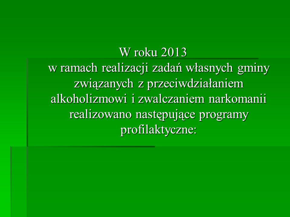 W roku 2013 w ramach realizacji zadań własnych gminy związanych z przeciwdziałaniem alkoholizmowi i zwalczaniem narkomanii realizowano następujące pro