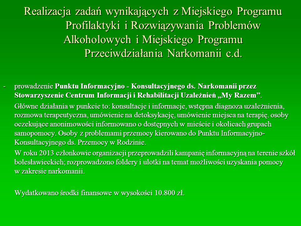 Realizacja zadań wynikających z Miejskiego Programu Profilaktyki i Rozwiązywania Problemów Alkoholowych i Miejskiego Programu Przeciwdziałania Narkoma