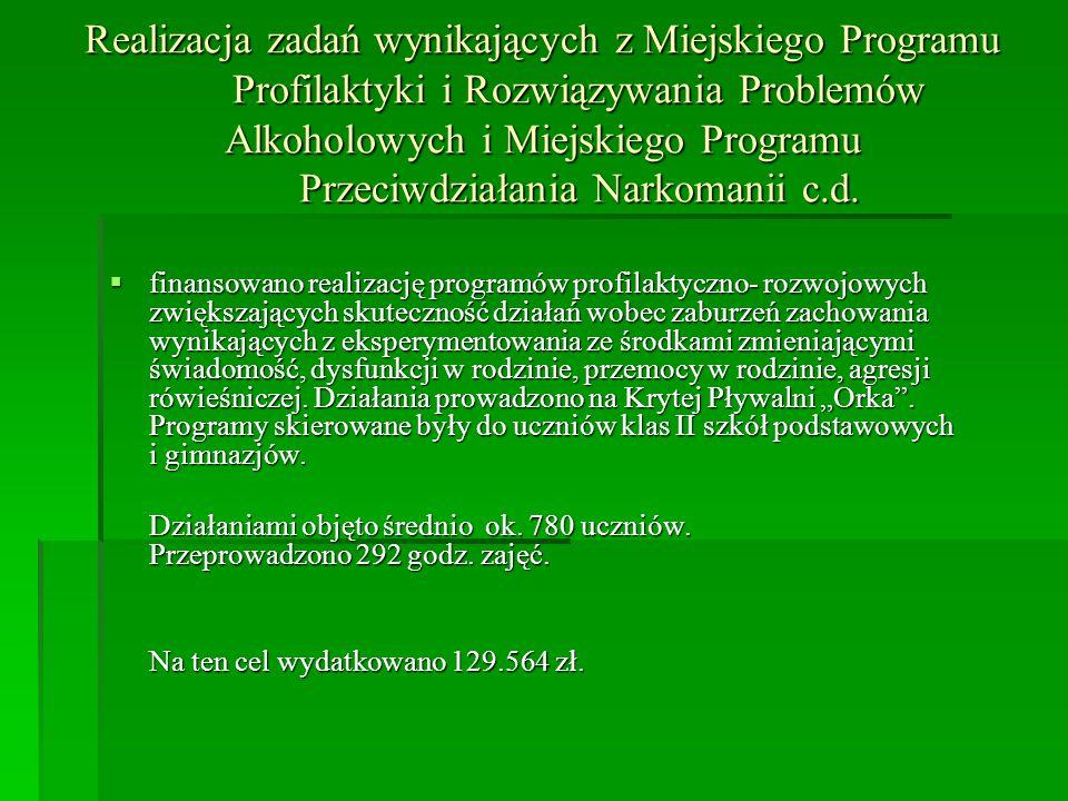 Realizacja zadań wynikających z Miejskiego Programu Profilaktyki i Rozwiązywania Problemów Alkoholowych i Miejskiego Programu Przeciwdziałania Narkomanii c.d.