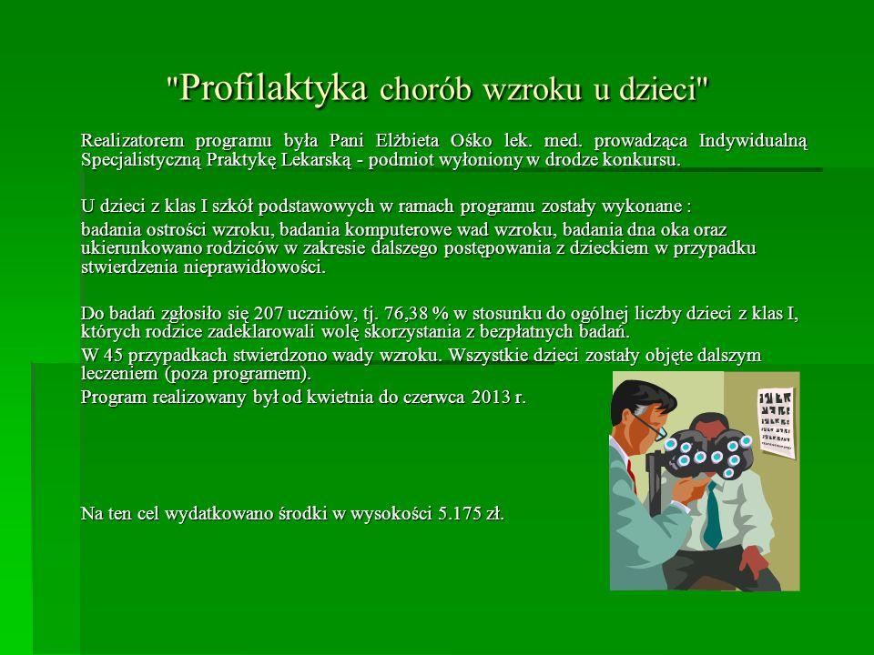 Profilaktyka chorób wzroku u dzieci Realizatorem programu była Pani Elżbieta Ośko lek.