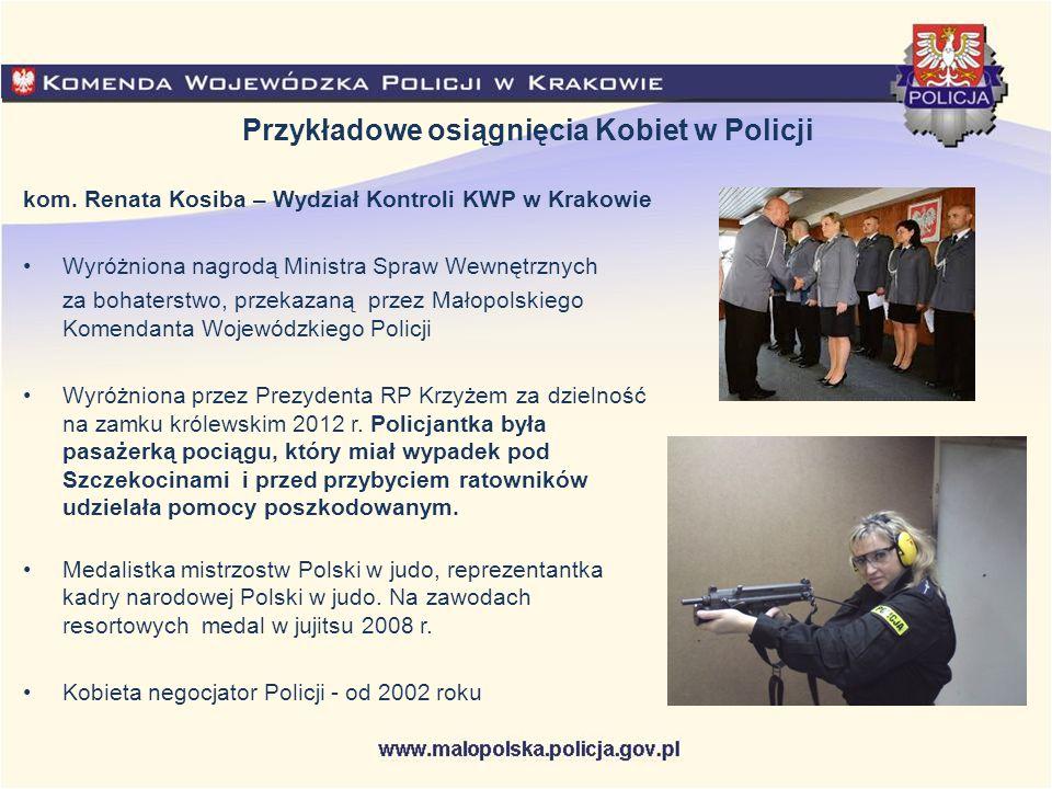 Przykładowe osiągnięcia Kobiet w Policji kom. Renata Kosiba – Wydział Kontroli KWP w Krakowie Wyróżniona nagrodą Ministra Spraw Wewnętrznych za bohate