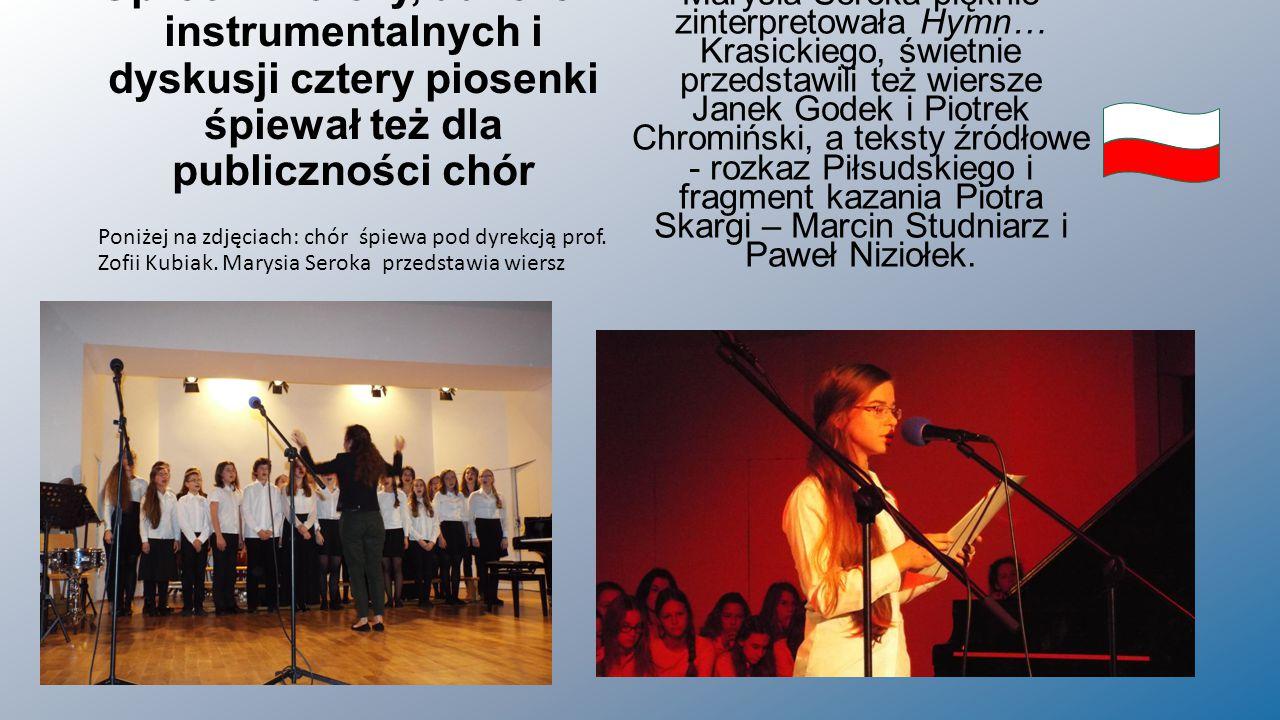 Oprócz wierszy, utworów instrumentalnych i dyskusji cztery piosenki śpiewał też dla publiczności chór Poniżej na zdjęciach: chór śpiewa pod dyrekcją prof.