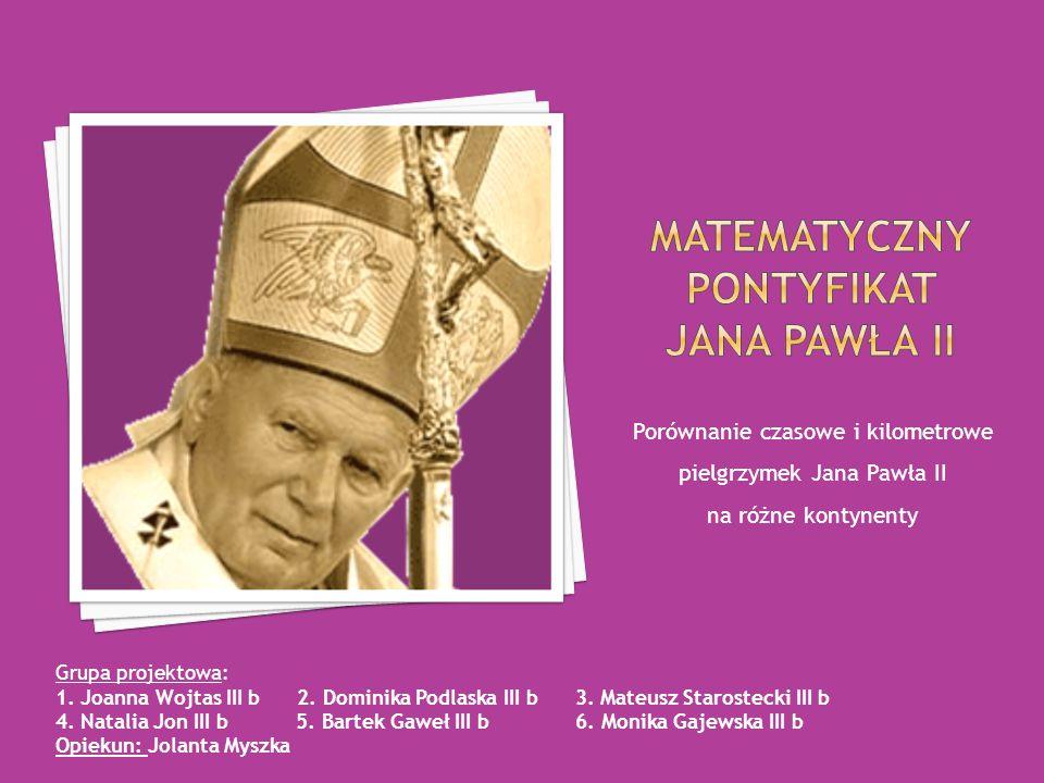 Porównanie czasowe i kilometrowe pielgrzymek Jana Pawła II na różne kontynenty Grupa projektowa: 1.
