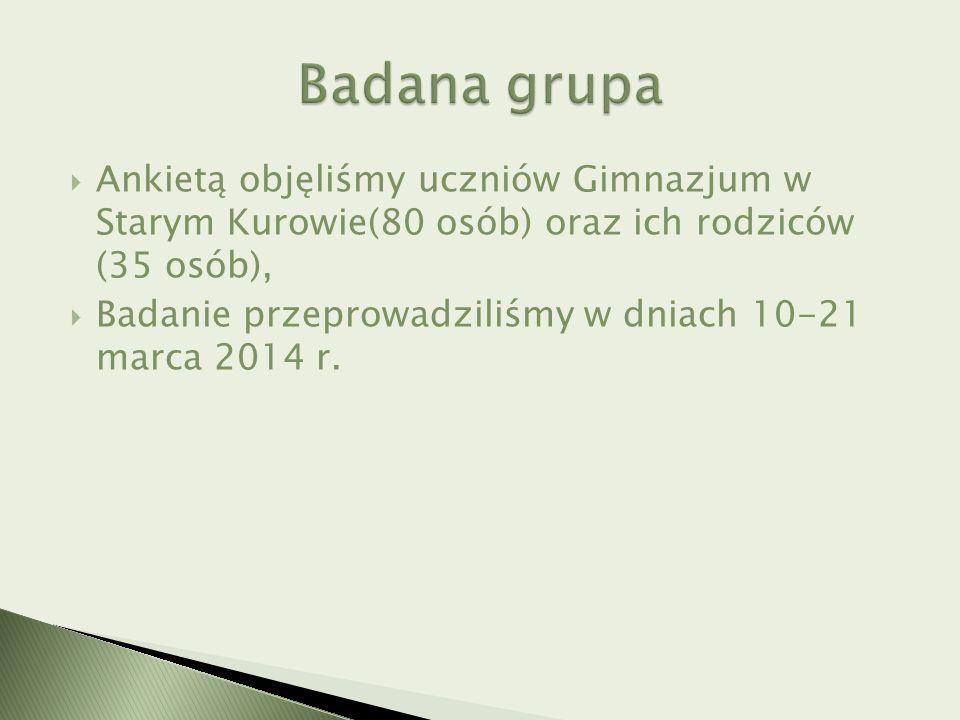  Ankietą objęliśmy uczniów Gimnazjum w Starym Kurowie(80 osób) oraz ich rodziców (35 osób),  Badanie przeprowadziliśmy w dniach 10-21 marca 2014 r.