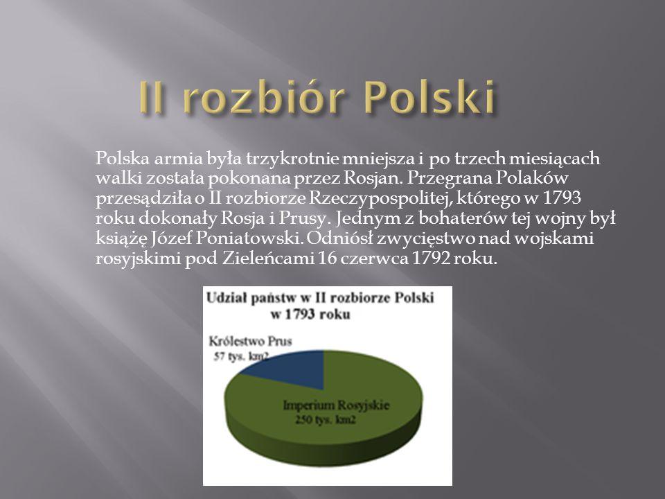 Polska armia była trzykrotnie mniejsza i po trzech miesiącach walki została pokonana przez Rosjan.