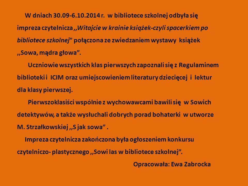 W dniach 30.09-6.10.2014 r.