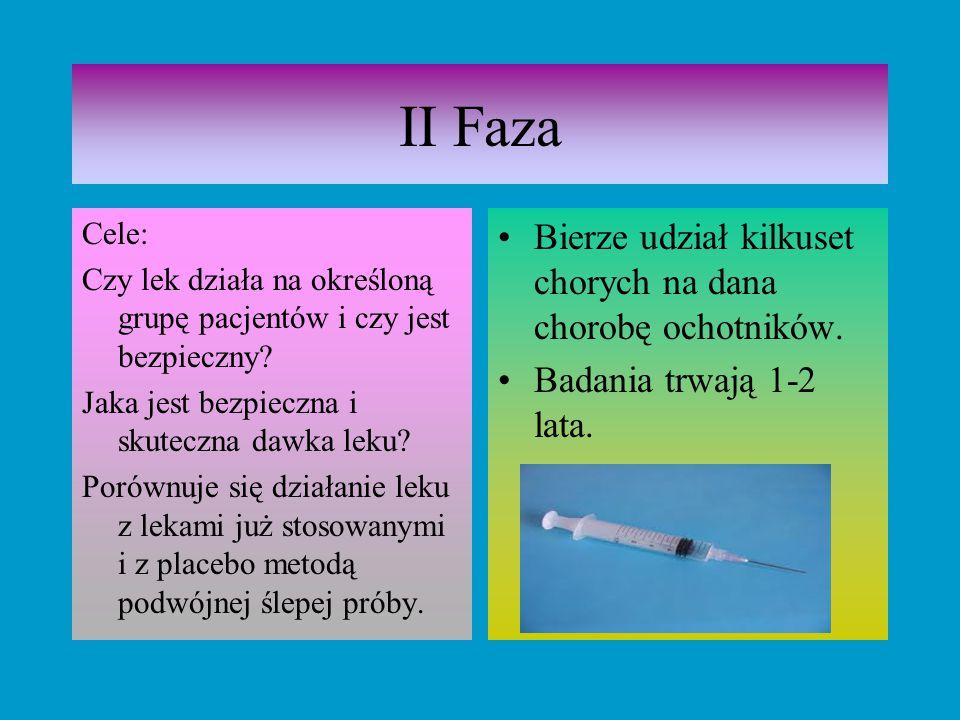 II Faza Cele: Czy lek działa na określoną grupę pacjentów i czy jest bezpieczny? Jaka jest bezpieczna i skuteczna dawka leku? Porównuje się działanie
