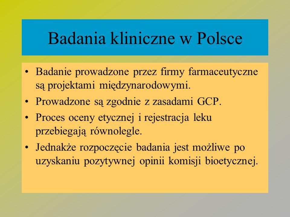 Badania kliniczne w Polsce Badanie prowadzone przez firmy farmaceutyczne są projektami międzynarodowymi. Prowadzone są zgodnie z zasadami GCP. Proces