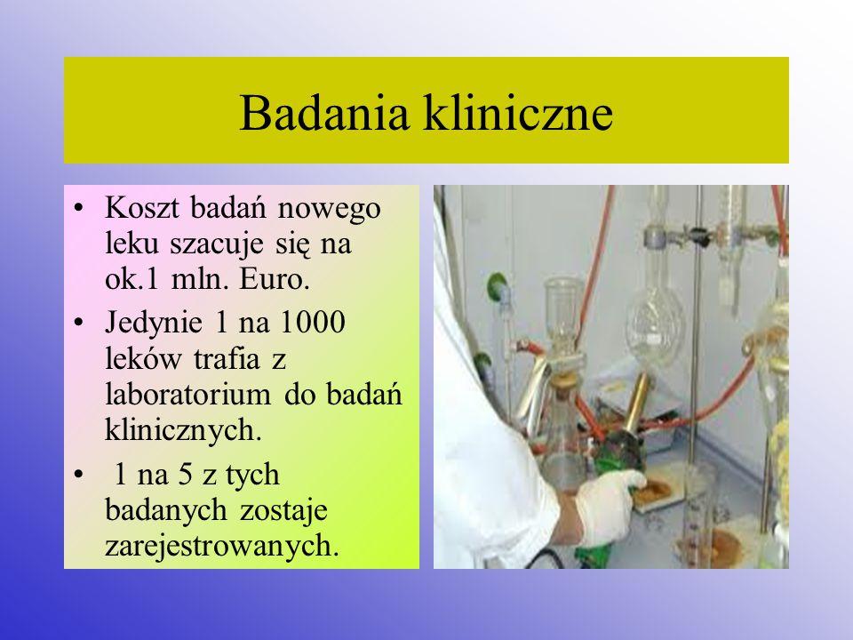 Badania kliniczne Koszt badań nowego leku szacuje się na ok.1 mln. Euro. Jedynie 1 na 1000 leków trafia z laboratorium do badań klinicznych. 1 na 5 z