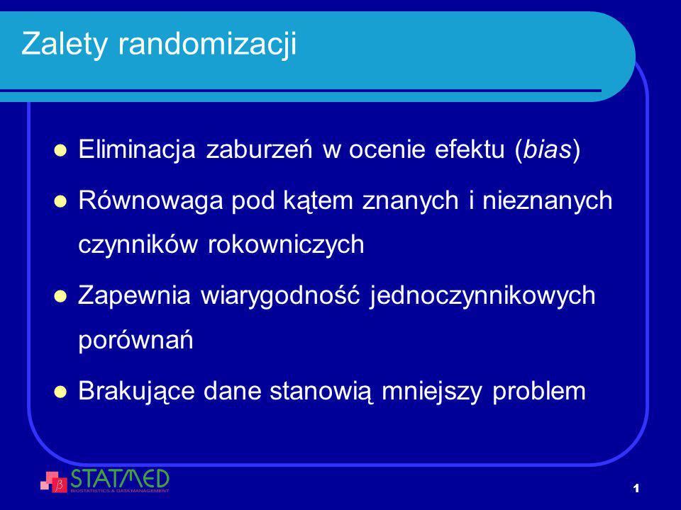 2 Metody randomizacji Prosta – lista kodów A/B/.., w odpowiednich proporcjach, 1:1, 2:1,.., wygenerowana w sposób losowy Blokowa – ustalona liczba kilkuelemetowych list randomizacyjnych (bloków) takiej samej długości Stratyfikacja – randomizacja osobno dla każdej kategorii pacjentów: np.
