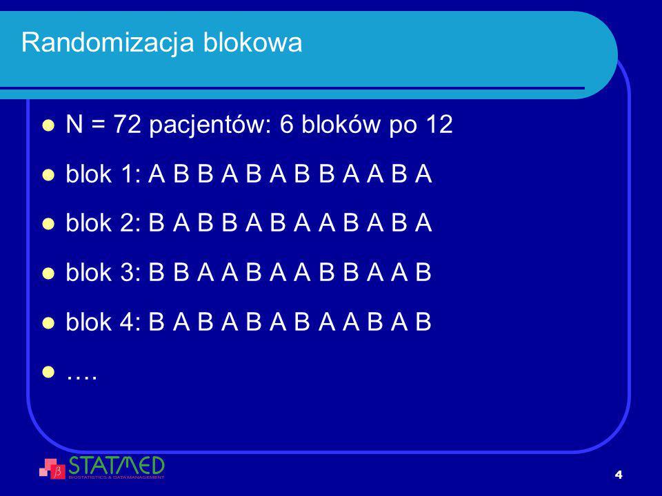 4 Randomizacja blokowa N = 72 pacjentów: 6 bloków po 12 blok 1: A B B A B A B B A A B A blok 2: B A B B A B A A B A B A blok 3: B B A A B A A B B A A