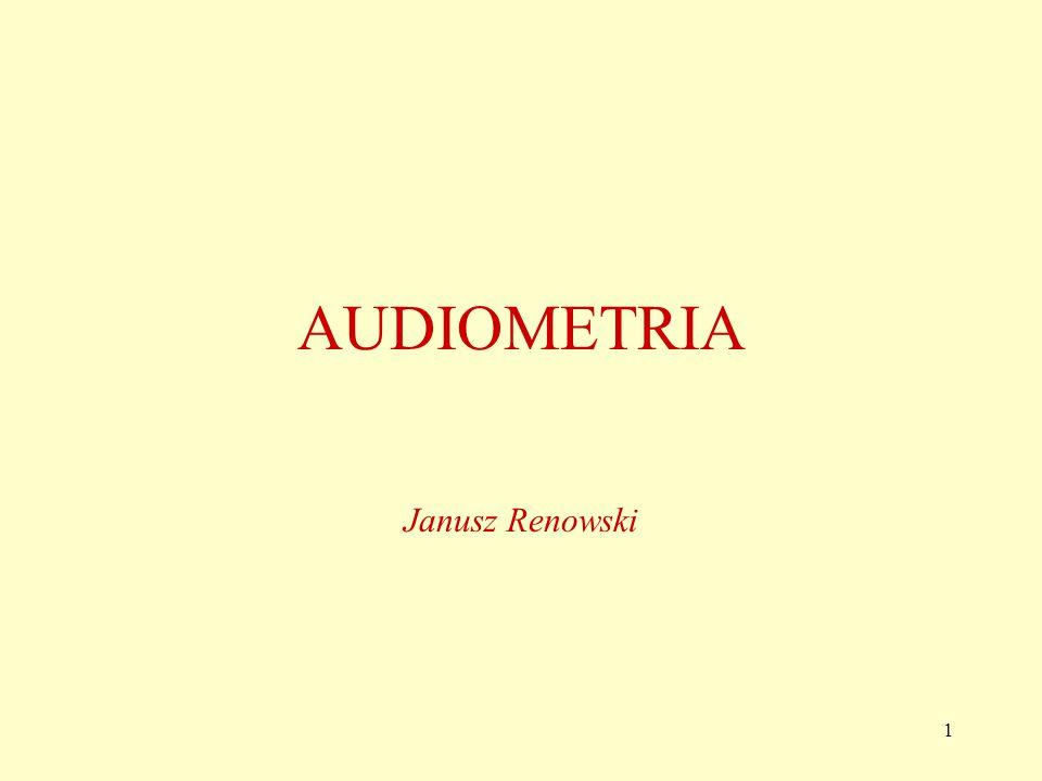 2 Audiometria Jest to metoda badania sprawności czynnościowej narządu słuchu, oparta na pomiarach i rejestrowaniu progów słyszalności w postaci wykresów (audiogramów tj.