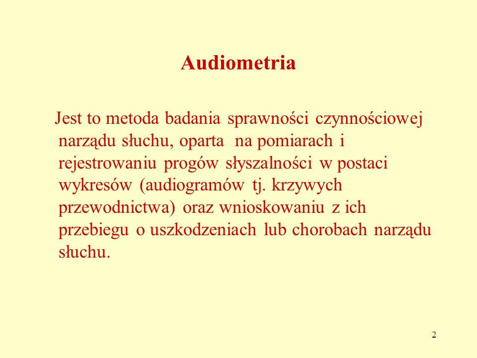3 Pomiary te mogą być; pomiarami subiektywnymi - gdy pacjent potwierdza fakt słyszenia poszczególnych dźwięków podawanych przez badającego, pomiarami obiektywnymi – gdy pacjent jest wyłączony z czynnego udziału a badania polegają na rejestracji potencjałów elektrycznych w układzie nerwowym ( np.
